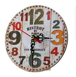 Cafe Des Artistes French Restaurant Themed Wooden 13 inch Round Wall Clock NEW