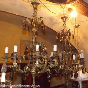lampadari in bronzo : Coppia-Lampadari-pendant-in-bronzo-epoca-039-900-con-cristalli-di ...