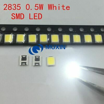 100pcs SMD LED 2835 White Chip 0.5 W 3V 150mA 50-55LM Ultra Bright Tv Parts