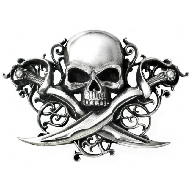 ALCHEMY PIRATE SKULL CROSSED SABRES BELT BUCKLE LETTER OF MARQUE