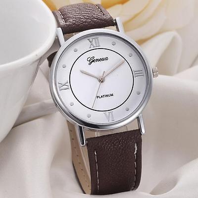 Platinum Luxury Brown Leather Stainless Men Women Quartz Outfit Fashion Watch
