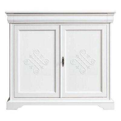 Aparador de comedor madera blanco con frisos y cajón, mueble estilo clásico