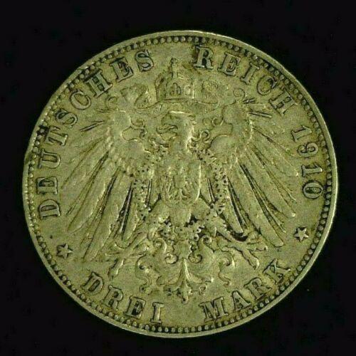 1910-D BAVARIA SILVER 3 MARK    (7988)