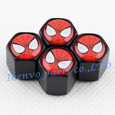 Black Styling Metal Car Wheel Tyre Tire Stem Air Valve Cap For Spider Man Styles