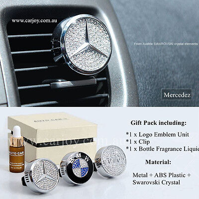 Mercedes Benz Emblem Crystal Auto Car Vent Air Freshener Fragrance Perfume Gift Image
