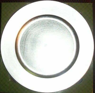 Plate Chargers Set of 4 Siver Round Holiday Table Decoration NEW IN BOX