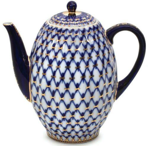 Cobalt Net Coffee Pot / Teapot by Imperial Porcelain Russian Lomonosov LFZ