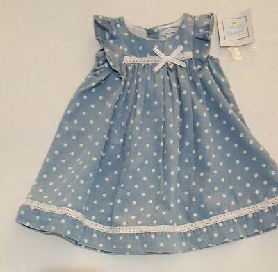 01c4c3d3482 Nwts Jillian s Closet Baby Girl Blue Polka Dot Summer Dress Size 3-6 ...