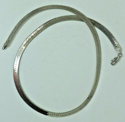 18 Inch Sterling Silver Necklace, Herring Bone, Stamped 925 Italy, 14.7 Grams