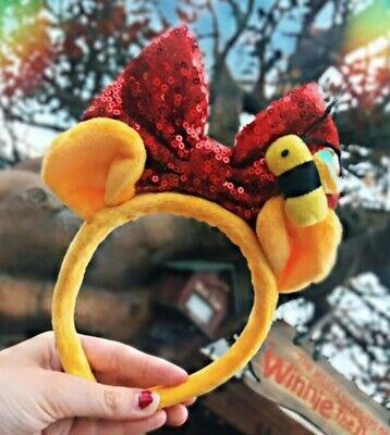 DISNEY ears winnie the pooh bear bee red bow Headband Costume 3d ears soft (Winnie The Pooh Soft Kostüme)