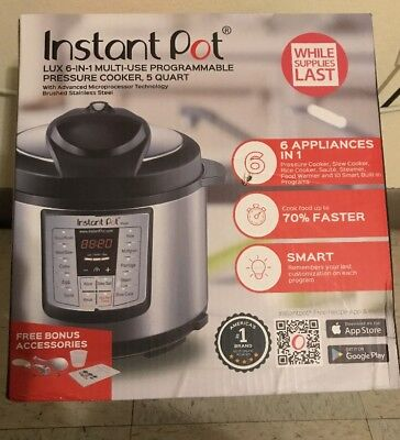 Instant Pot 5-Qt Slow Cooker 6-in-1 Programmable Pressure Cooker Rice Steamer