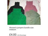 Womens jumpers bundle size medium