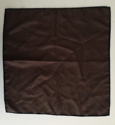 Faconnable Hand Rolled Silk Scarf Handkerchief Pocket Square Brown/Navy Italy