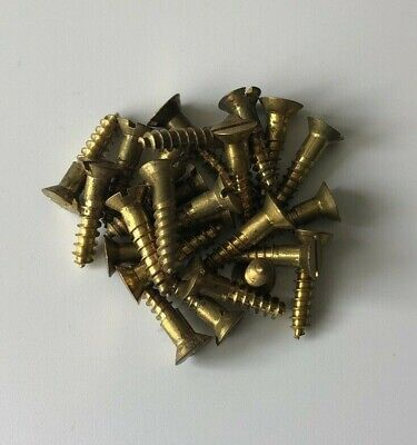 Solid Brass Flat Head Wood Screws Slotted Nos 8 X 34 25 Pieces