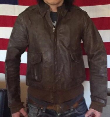 WWII USAAF US Army Air Force A-2 Bomber Flight Jacket. Aircraft Arrival Report.