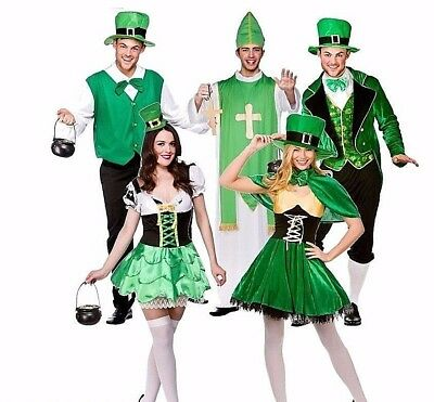Adult LUCKY LEPRECHAUN Mens Ladies St Patrick Fancy Dress Costume Lucky Irish