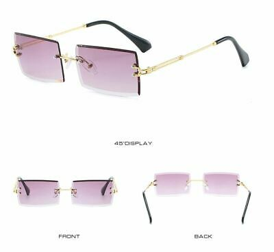 Mens Vintage Rimless Small Diamond Cut Rectangular Gold Gradient Tint (Gradient Tint Sunglasses)