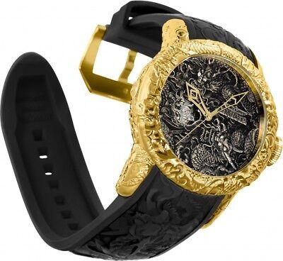 New Invicta Men's 50mm Empire Dragon Automatic Open Heart Dial Gold Tone 25082