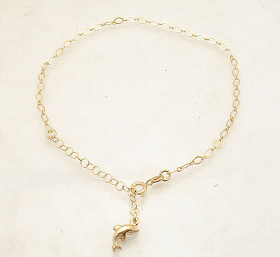 Adjustable Italian Oval Charm Ankle Bracelet Anklet 14K Yellow Gold Clad Silver