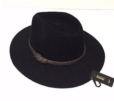 Women's Fashion Wide Brim Floppy Cap Summer Beach Sun Hat Elegant Panama Black