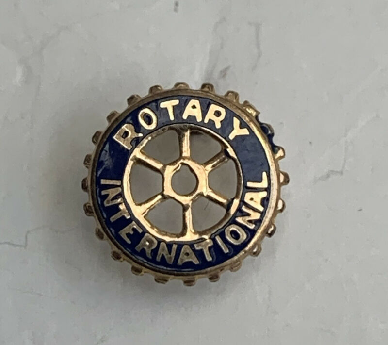 VINTAGE 10K YELLOW GOLD ROTARY INTERNATIONAL SMALL SCREW BACK LAPEL PIN