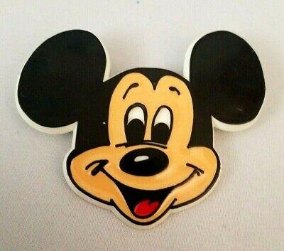 "Vintage Walt Disney Mickey Mouse Face Pin Plastic 2"" x 2.5"""