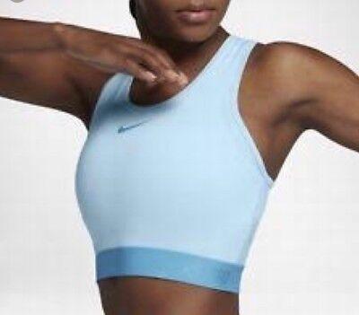 New Nike Pro Hypercool Tank Top Shirt Bra Women Medium Athletic Dri Fit Blue