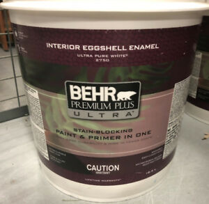 18.9 litres behr eggshell enamel  (color is crisp linen)