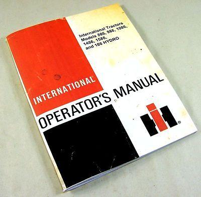 International 886 986 1086 1486 1586 Hydro 186 Tractors Operators Owners Manual