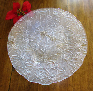 Vintage Christmas Frosted Glass Poinsettia Platter 14 ¼""