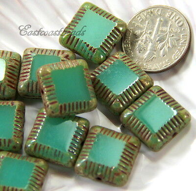 6 Square Framed Carved Beads, 14mm, Emerald Green w/Matte Finish, 6 Pieces