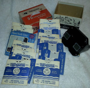 1942 VIEW MASTER 3D Model E Box and Reels Vintage