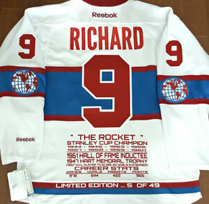 MAURICE RICHARD CANADIENS THE ROCKET LTD/ED-49 RBK STATS JERSEY