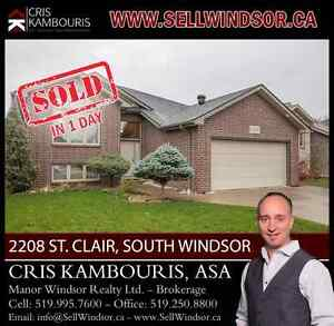 2208 ST. CLAIR, SOUTH WINDSOR (SOLD IN 1 DAY) Cris Kambouris