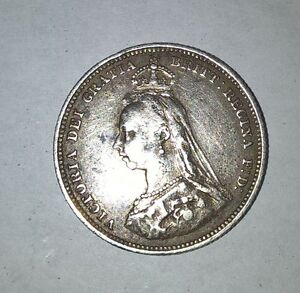 1887 British sterling silver shilling London Ontario image 2