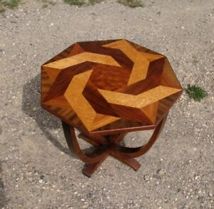 Antique Art Deco Wood Inlay Octagon Occassional Table