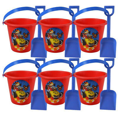 6pc Mickey Mouse Red Sand Bucket and Shovel For Birthday party Favor Gift - Mickey Mouse Party Buckets
