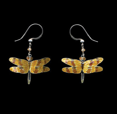 Bamboo Jewelry HALLOWEEN DRAGONFLY Earrings STERLING SILVER Swarovski + Gift Box (Halloween Dragonfly)