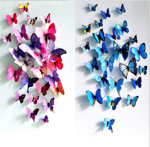Home Decoration - 12 x 3D Butterfly Wall Stickers Home Decor Room Decoration Sticker Bedroom Girl