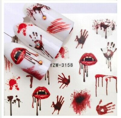 Halloween Decorations Sheets (3 Sheets Vampire Halloween Nail Art Sticker Water Transfer Decals)
