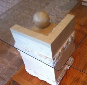 Contemporary Coffee &  End Tables, Glass & Carved Limestone Base Cambridge Kitchener Area image 8