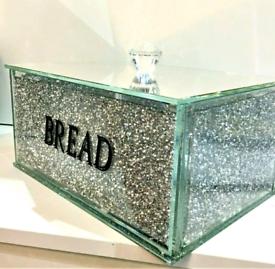 XXL Silver Crushed Diamond Crystal Mirrored Bread Bin