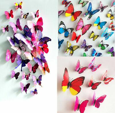 12 Pcs 3D Butterfly Wall Art Decal Stickers Wedding DIY Home Decor Fridge Magnet