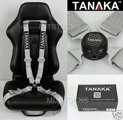 TANAKA UNIVERSAL GRAY 4 POINT CAMLOCK QUICK RELEASE RACING SEAT BELT HARNESS 2