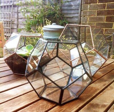 Tabletop Container Box Geometric Succulent Bonsai Pot Metal Glass Terrarium UK