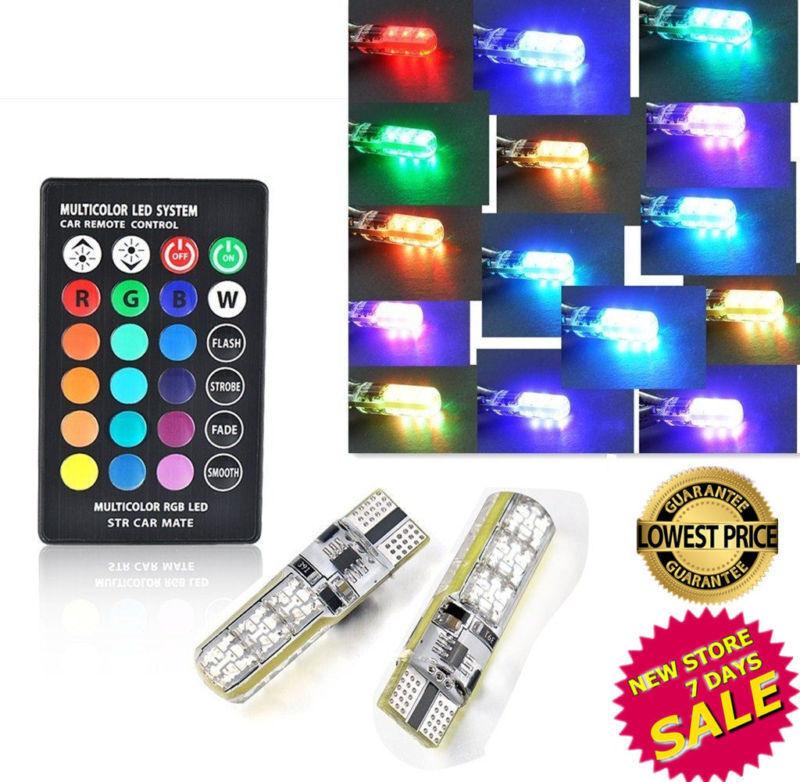 Remote Control 2x T10 5050 6-LED Multi-Color Interior Wedge Side Light Strobe