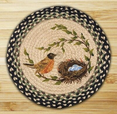 ROBIN BRAIDED HAND PRINTED JUTE CHAIR PADS SETS With TIES--15.5