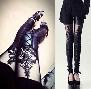 Chic Women's Retro Punk PU Leather Lace Embroidery Black Leggings Pants Trousers