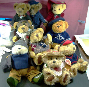 16 BRASS BUTTON TEDDY BEARS GREAT COLLECTION