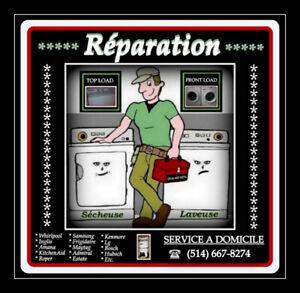 Réparation de Laveuse et Sécheuse Whirlpool-Samsung-Kenmore....